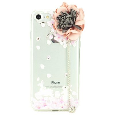 iPhone 7 TPU Case with Silk Rose Applique and Diamante Charm - Pink