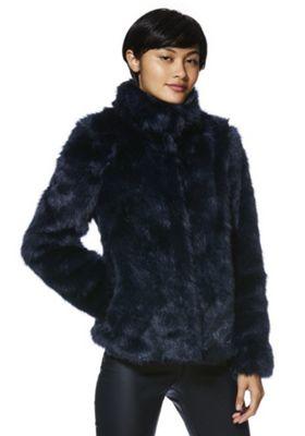 Vero Moda Stand Collar Faux Fur Jacket Navy S