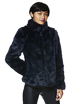Vero Moda Stand Collar Faux Fur Jacket - Navy