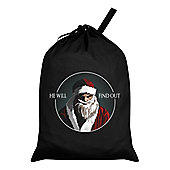 He Will Find Out Santa Sack 46x60cm, Black