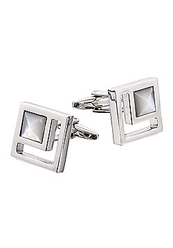 Rhodium-plated Mother of Pearl Cufflinks
