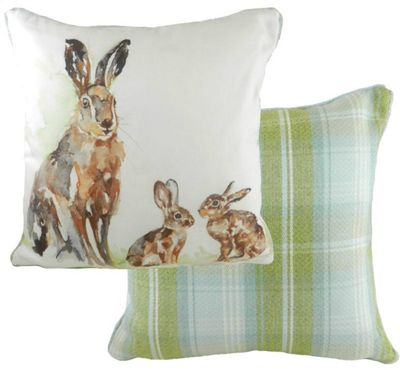 Evans Lichfield Jennifer Rose Gallery Watercolour Animals Filled Cushion | Hare and Babies Design | Tartan Stirling Check