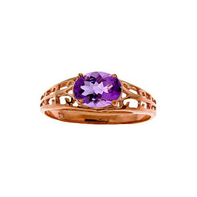 QP Jewellers 1.15ct Amethyst Catalan Filigree Ring in 14K Rose Gold - Size S 1/2