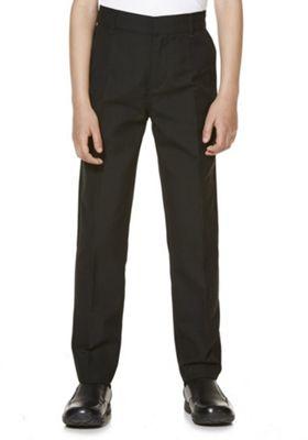 "F&F School 2 Pack of Boys Teflon EcoElite""™ Flat Front Slim Leg Longer Length Trousers 3-4 years Black"