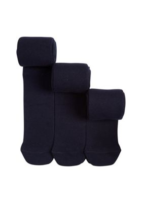 F&F 3 Pack of Super Soft Knitted Tights 3-4 years Navy