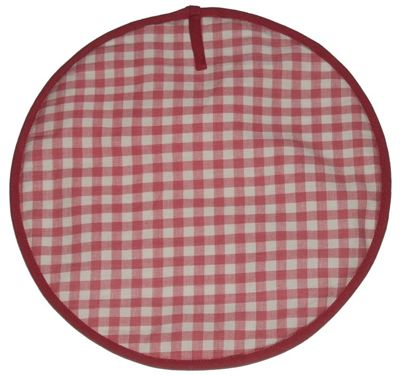 Sterck Round Checked Gingham Cook Pad Hob Cover in Pink