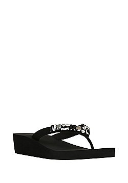 F&F Jewel Embellished Wedge Flip Flops - Black