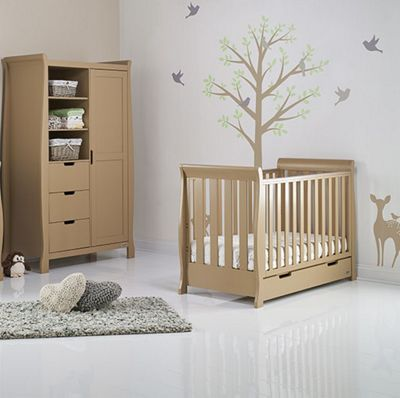 Obaby Stamford Mini Cot Bed/Wardrobe 2 Piece Nursery Room Set - Iced Coffee