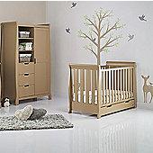 Obaby Stamford Mini Cot Bed/Wardrobe 2 Piece Nursery Room Set - Iced Coffee
