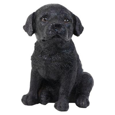 Realistic 16cm Sitting Black Labrador Puppy Dog Statue Ornament