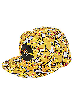 Pokemon Pikachu Print Flat Peak Cap - Yellow