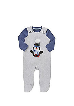 F&F Penguin Applique Dungarees and Bodysuit Set - Grey