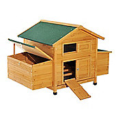 PawHut Wooden Chicken Coop Hutch Poultry House with Nest Box