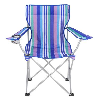 Yello Folding Beach Chair For Camping, Fishing Or Beach - Blue stripes