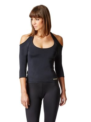 Long Sleeve Fitted Gym Top With Shoulder Cut-Outs Black M
