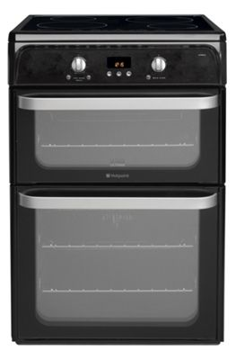 Hotpoint Ultima Electric Cooker with Electric Grill and Ceramic Hob, HUI612 K - Black