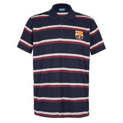 FC Barcelona Mens Striped Polo Shirt Navy Medium
