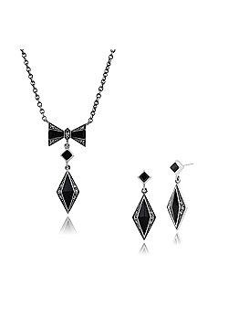Gemondo 925 Sterling Silver Black Onyx & Marcasite Art Deco Drop Earring & 45cm Necklace Set