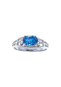 QP Jewellers 1.15ct Blue Topaz Catalan Filigree Ring in 14K White Gold