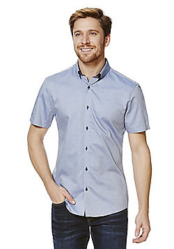 F&F Double Collar Short Sleeve Slim Fit Shirt - Blue