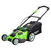 "Greenworks Twin Blade 40v 49cm (19"") Lawn Mower with 2 x 2ah batteries"
