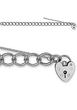 Jewelco London Rose Sterling Silver charm Charm Bracelet - 9.5mm gauge