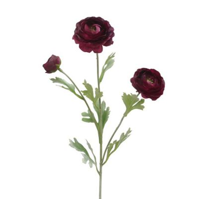Bahne Faux Ranunculus Single Stem Flower in Dark Red 82cm Long