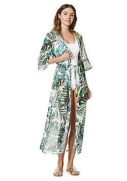 F&F Palm Print Long Line Kaftan - Multi Green