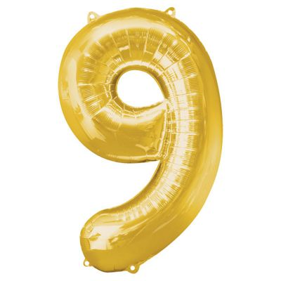 Gold Number 9 Balloon - 34 inch Foil