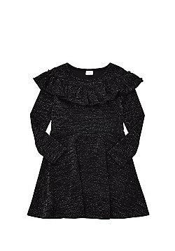 F&F Frill Sparkle Dress - Black