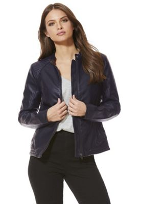 JDY Faux Leather Biker Jacket 40 Chest regular length Black