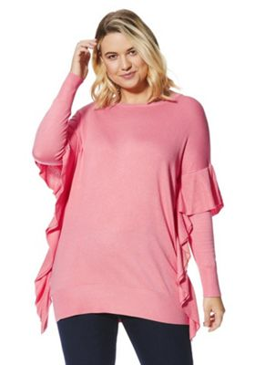 Simply Be Frill Trim Batwing Jumper 16-18 Bright coral