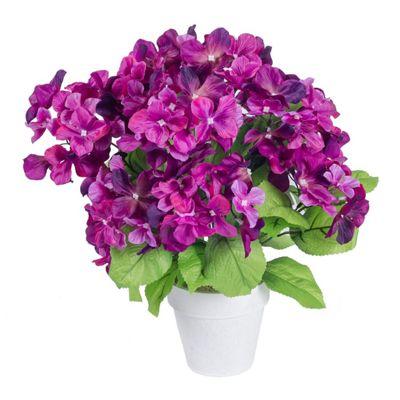 Homescapes Purple Hydrangea Artificial Flowers in White Pot
