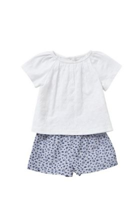 F&F Broderie Anglaise Top and Gingham Shorts Set White/Navy 12-18 months