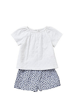 F&F Broderie Anglaise Top and Gingham Shorts Set - White/Navy