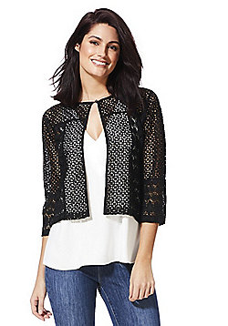 F&F Tapework Crochet Shrug - Black