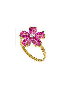 QP Jewellers Diamond & Pink Topaz Foliole Ring in 14K Gold