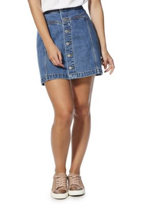F&F Button-Through Denim Skirt Denim 10