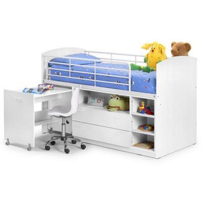 Happy Beds Leo Wood Kids Storage Midsleeper Cabin Desk Storage Bed with Orthopaedic Mattress - White - 3ft Single