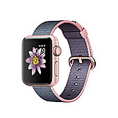 Apple Series 2 (38mm) Watch with Rose Gold Aluminium Case and Light Pink/Midnight Blue Woven Nylon Band