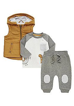 F&F Gilet, Dinosaur T-Shirt and Joggers Set - Multi