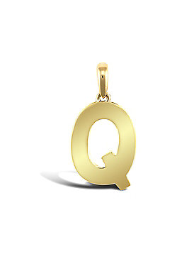 9ct Yellow Gold Initial Charm Identity Pendant - Letter Q