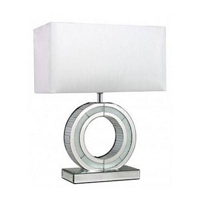 Silver Mirror Small Metropolitan 'O' Lamp With White Shade