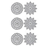 Pack of 6 Silver Glitter Snowflake Hanging Decorations 12cm