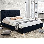 Happy Beds Brompton Velvet Fabric Low Foot End Bed - Midnight