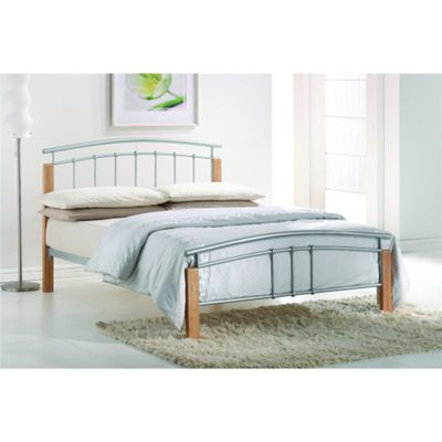 Silver Metal & Beech Bed Frame - Double 4ft 6