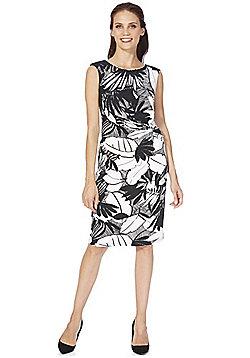 Roman Originals Leaf Print Jersey Dress - Black & White
