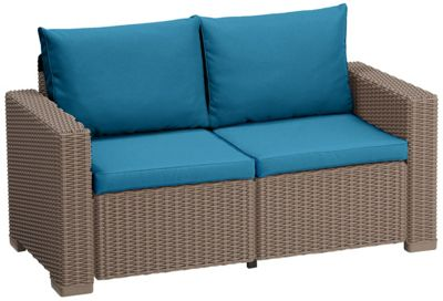 Gardenista Replacement 4 Piece Seat Pad Set for Keter Allibert California 2 seater Sofa - Turquoise