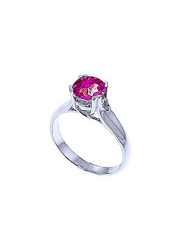 QP Jewellers 1.10ct Pink Topaz Solitaire Ring in 14K White Gold