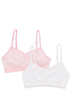 F&F 2 Pack of Seamfree Underband Crop Tops - Pink & White